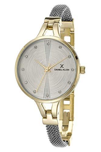 Daniel Klein Damen-Armbanduhr (DK12431) – Edelstahl – 32 mm Analog Damenmode Uhren – Japanisches Quarzwerk – Kristallakzenten, zweifarbig, Armreif – viele Farben modisch 32mm Gold- und silberfarben.