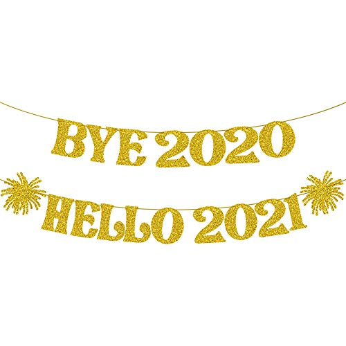 Bye 2020 Hello 2021 Banner - Gold Glitter, 2 Strings | Happy New Year Decorations 2021 | New Years Eve Party Supplies 2021 | Happy New Year Sign for New Years Eve Backdrop for NYE Decorations 2021