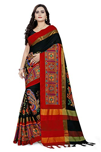 arriva fab Women's Cotton Silk Heavy Kutchi Work With Peacock Design Embroidered Saree
