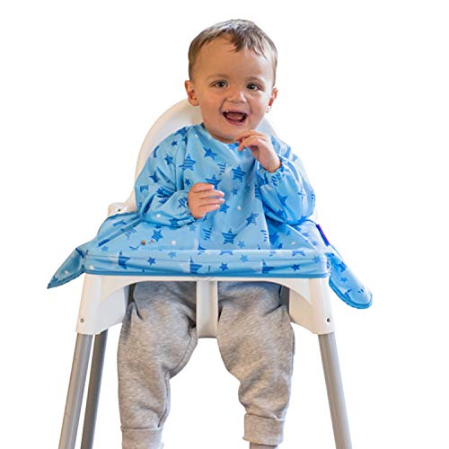 New Tidy Tot Cover amp Catch Waterproof Bib attaches to highchair NO More Gaps  Long Sleeve Coverall Baby weaning bib for BLW Baby led weaning