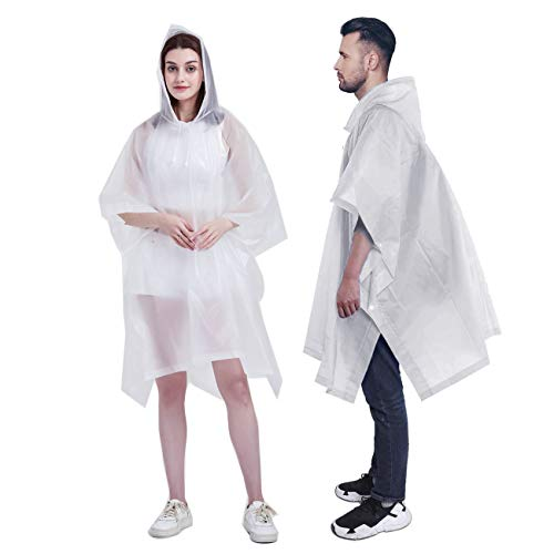 HLKZONE Rain Poncho, [Pack of 2] Portable EVA Raincoat with Hood Reusable Rain Coat Emergency Poncho for Adults