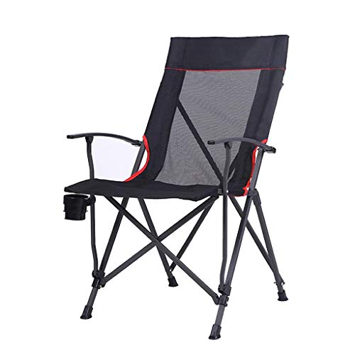 KAISIMYS - Sillón plegable con respaldo alto, para camping, pesca, respaldo cómodo, para el almuerzo, 56 x 68 x 96 cm