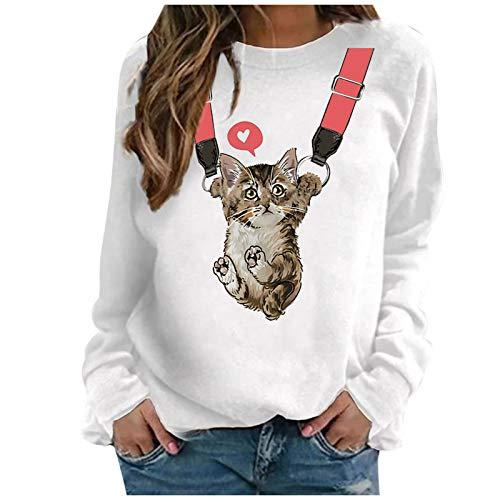 Writtian Sweatshirt Damen Tunika Tops Langarm Herbst Rundhalsausschnitt Casual Loose Shirt Print Bluse Pullover