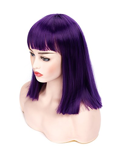 Morvally Short Straight Bob Wig with Flat Bangs Natural Looking Heat Resistant Hair Cosplay Costume Wigs (14 inches Dark Purple)
