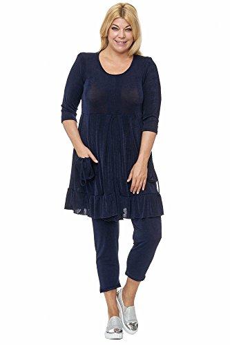 Magna - Damen Plus Size Key Styles Slinky Empire Tunika in weiter A-Linie Übergrösse Farbe dunkelblau, Größe 60/62