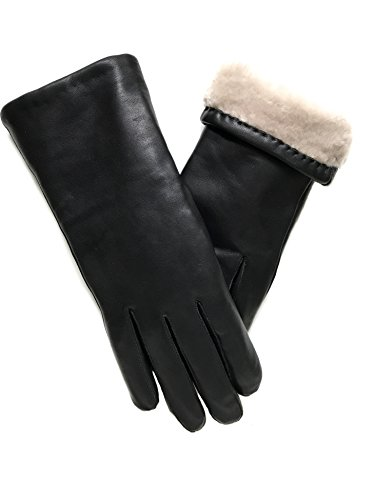 Exklusiver Lederhandschuh aus Lammnappa gefüttert mit 100% Merino Lammfell, schwarz, Damen, Größe: 8