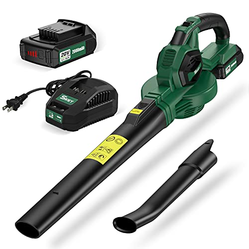 SKEY Leaf Blower - Cordless Leaf Blower with 2 Speeds up to 130MPH,Handheld Electric Leaf Blower Cordless with 20V Battery and Fast Charger,Battery Powered Mini Lightweight Leaf Blower