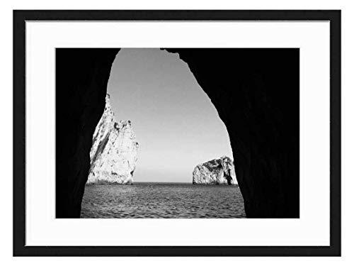 Wood Framed Canvas Artwork Home Decore Wall Art (Black White 20x14 inch) - Capri Italy Amalfi Coast Ocean Sea Seascape Sky