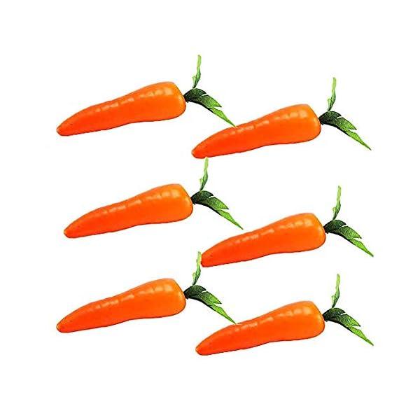 XLYS 6 Pcs Artificial Carrot,Plastic Carrots Simulation Fake Vegetables Teaching Photo Props for Home Fruit Shop Supermarket Decor