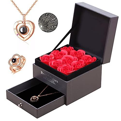 weeyin Rosa Preservada Regalos para Ella, Flor Rosa Eterna con Collar de...