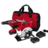 PowerSmart Combo Kit, 20V MAX Cordless Drill/Saw Combo Kit, Cordless 1/4' Impact Driver, 5-1/2-INCH Cordless Power Circular Saw, 2-Tool Combo Kit, 2 Batteries and Charger Included, PS76200C