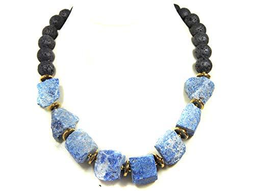 Damen Edelsteinkette Halskette aus Lapislazuli Rohsteinen und Lava in Kugelform