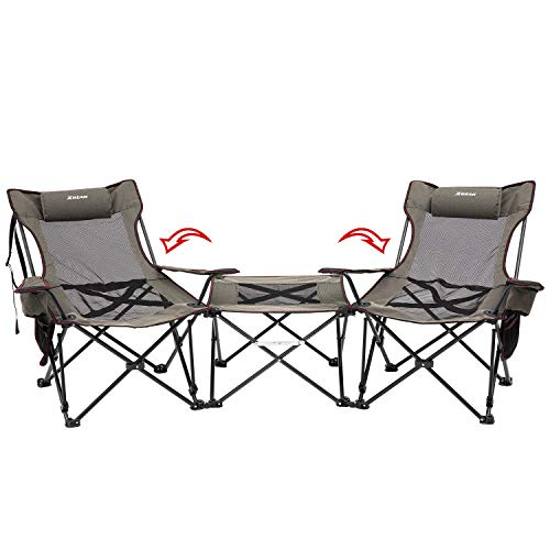 XGEAR 3 in 1 Double Folding Chair Loveseat Camping Outdoor Chair with Detachable Table for Camping Beach and Picnics