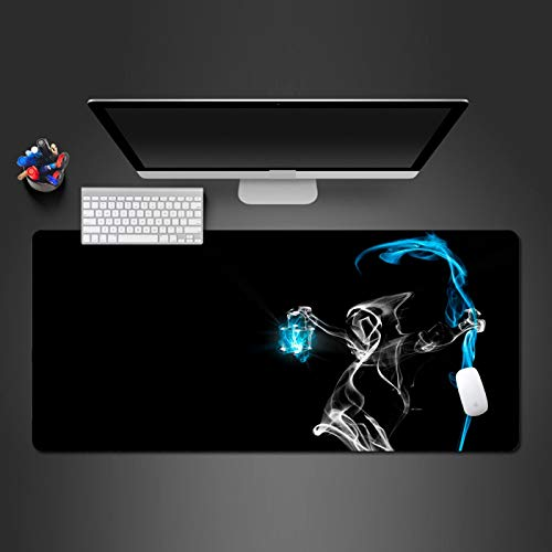FNUGCT Kids Gaming Mousepad Large Computer Keyboard Mouse Mat XXL Abstract Blue Flame Skull Pattern Non-Slip Waterproof Laptop Desk Pad 31.5X11.8 Inch For Game Players, Office, Desktop, Delicate Edges