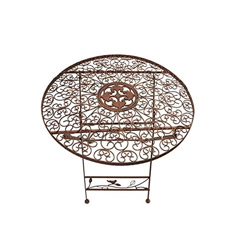 Ziegler Gartentisch Klapptisch Metalltisch Dekotisch Eisentisch Garten Terrasse Gartendeko Tisch Metall braun rund 70 cm WK070828
