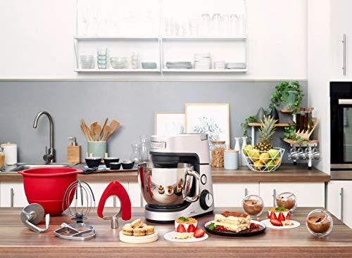 Krups Premium Küchenmaschine 17 teilig, 4,6L Edelstahlschüssel, Silikonschüssel, 4 Rührwerkzeuge Edelstahl, spülmaschinenfest, 1100W, Schnitzelwerk, Fleischwolf, Gratis Rezepte und 12er Cupcake Form - 12