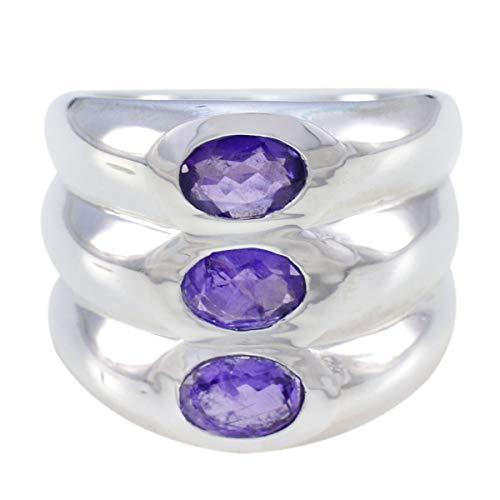 joyas plata echte edelsteine ovale form drei steinerne facettierte amethystringe - massiver silberner lila amethystring - februar geburt wassermann astrologie echte edelsteine ring