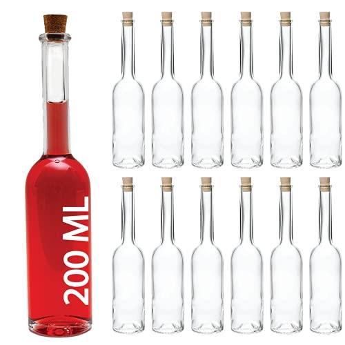 slkfactory SLK GmbH - 12Bottiglie OPI, in Vetro, vuote, da 200ml, con Chiusura in Sughero, Bottiglie per liquore, Grappa, aceto ed Olio, Altezza: 23 cm