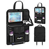 Pushingbest Back Seat Car Organizer, Car Organizer for Kids Toy Bottles Storage Foldable Dining Table Clear Tablet Holder Family Road Trip Accessories (Black 1PC)