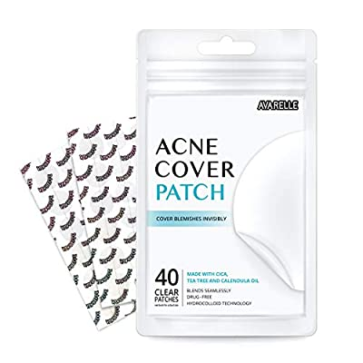 Avarelle Acne Pimple Patch (40 Count) Absorbing Hydrocolloid Spot Treatment with Tea Tree Oil, Calendula Oil and Cica, Certified Vegan, Cruelty Free (ORIGINAL / 40 COUNT) from Avarelle