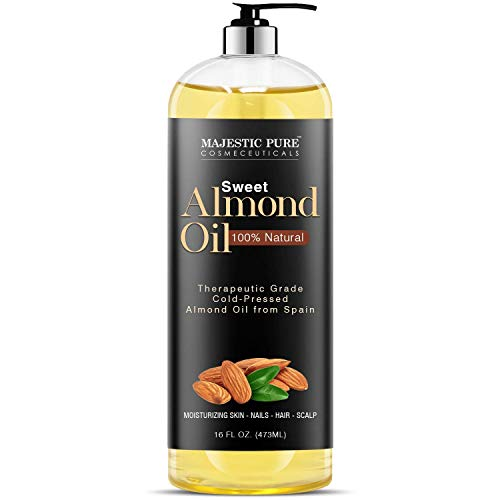 Majestic Pure Sweet Almond Oil, Triple A Grade Quality, Pure and Natural from Spain, Cold Pressed, (Packaging May Vary) - 16 fl. Oz