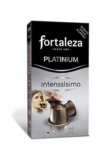 Café Fortaleza Platinium – Cápsulas Compatibles con Nespresso, de Aluminio, Sabor Intenssisimo, Especial Café Espresso, 100% Arábica, Pack 5x10 - Total 50 uds