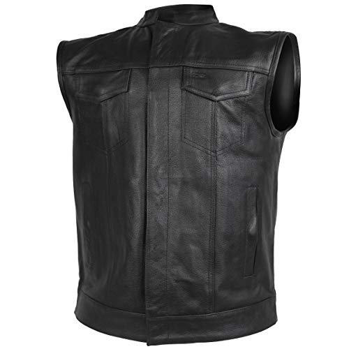 Vance Leather VL914 4XL Soa Men's Motorcycle Club Vest with Zipper and Snaps, 4X-Large