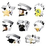 Tifeson 2020 Graduation Cookie Cutter Set Stainless Steel - 8 Pcs Icing Sandwich Cookie Molds Include Graduation Cap, Diploma, Star, Medallion, Gown,Flower - Graduation Party Supplies 2020