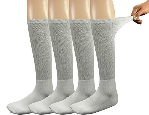 Yomandamor Mens Bamboo Diabetic Crew Socks,4 Pack Size 10-13(W)