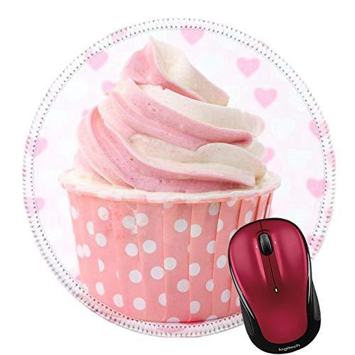 Round Mouse Pad Mousepad Cupcakes aus Naturkautschuk mit Vanille-Zuckerguss und süßen roten Herzen zum Valentinstag, Muttertag, Geburtstag, Weihnachten oder zu besonderen romantischen Anlässen