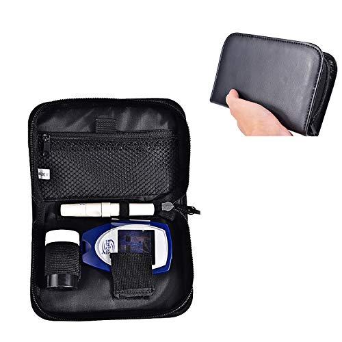 Hosoncovy PU Leder Diabetes Kit Fall Blutmesser Reise Fall Blutzuckertester Fall für Glukose-Meter, Teststreifen, Stechgerät und Lanzetten