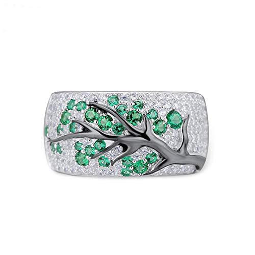 Ai.Moichien Anillo Chapado En Oro Rama con Incrustaciones De Diamantes Anillos De Compromiso Joyas Regalo para Niñas