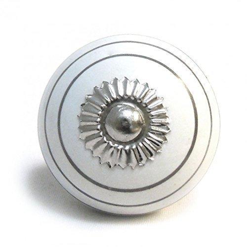 Pushka Home Poignée de poignée de Porte de Placard en céramique Blanc argenté à Rayures Porcelaine Pull