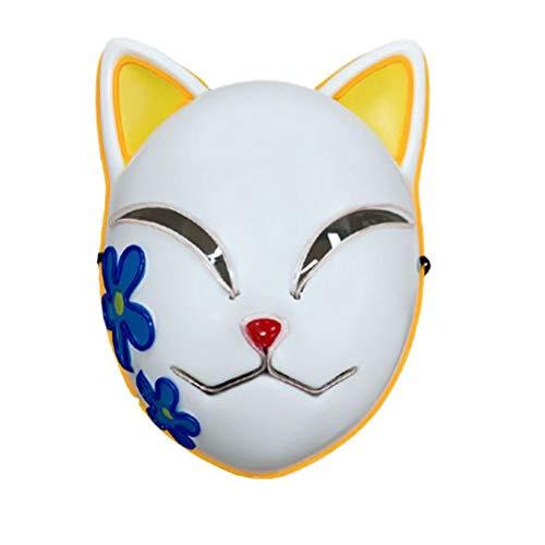 (2021 NEU) Demon Slayer Maske, leuchtende japanische Anime Demon Slayer Maske Cosplay Masken Kopfbedeckung Karneval Ostern Halloween Party Kostüm Requisiten Dekorationen für Kinder Erwachsene