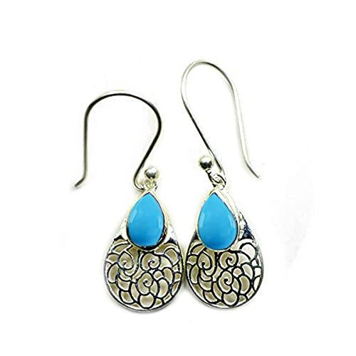 55Carat plata de ley 925 plata de ley pera Turquoise Pendientes de turquesa natural