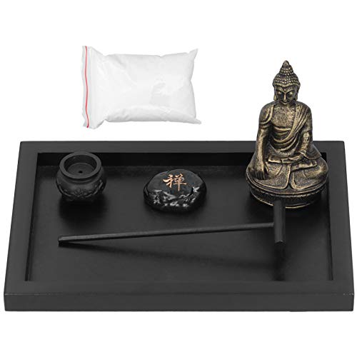 Jenngaoo Kit de jardín Zen de meditación de Mesa con Estatua de Buda, Asiento de Incienso Juego de...