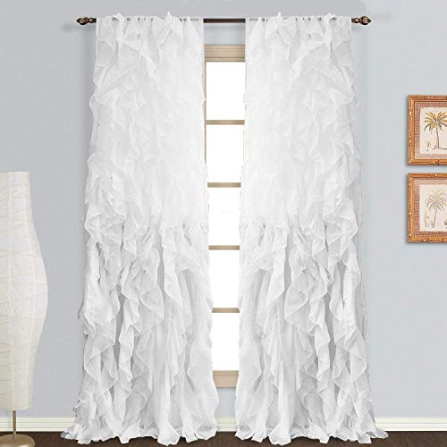 Rooney Sheer Voile Vertical Ruffled Window Curtain Panel (White, 2 Panels 50' x 84')