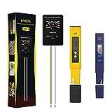 Fivota Medidor pH, Medidor TDS de pH Suelo, 3 en 1 Medidor de Humedad/Luz/pH del Suelo, Medidor de pH y Calidad del Agua, Prueba pH Temperatura para Suelo Líquido (paquete de 3)