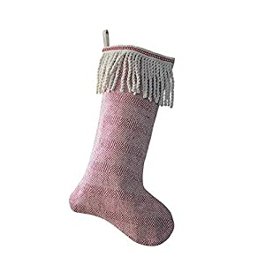 "One Holiday Stocking Measures 20""H x 12""W Made of cotton This stocking features a red & white chevron pattern with a bullion fringed cuff This stocking will surely add some holiday spirit to your home!"