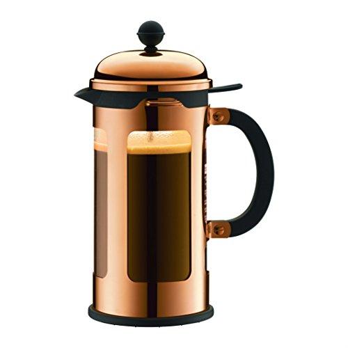 Bodum CHAMBORD Kaffeebereiter (French Press System, Auslaufschutz, Edelstahlrahmen, 1,0 liters) kupfer