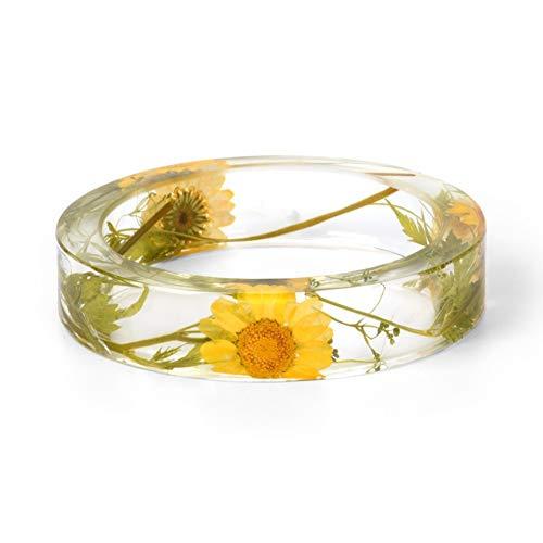 ZKZDSL Armband,Design Transparentes Harz Charme Bracelets Getrocknete Blume Erklärung Armreif Armband & Frauen Handgefertigte Jewelrysent Gelb