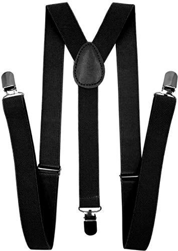 LOLELAI Suspenders for Women and Men | Elastic, Adjustable, Y-Back | Pant Clips, Tuxedo Braces (1, Black)