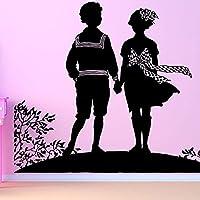 恋人のためのかわいいカップルの取り外し可能なウォールステッカー寝室の甘い家の装飾リビングルームの芸術のためのビニールのウォールステッカー71x57cm