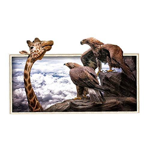 Wall Stickers Giraffe Eagle 3D Photo Frame Wall Stickers Waterproof Wall Decal Stickers Washable Removable Kids Room Wall Decoration 1Set
