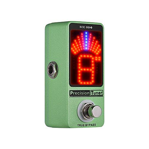 Muslady Tuner Pedale Sintonizzatore Precisione Display a LED con True Bypass per Basso Elettrico Cromatico