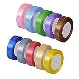 LxwSin 10 Colores Cinta de Raso, 20mm Raso de Satén de Cinta, 10 Rollos de...