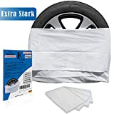 JK Trade® EXTRA Starkes 4-teiliges Premium Reifentüten Set zur Reifen Aufbewahrung & Lagerung Ihrer Autoreifen, Reifensack Set, Felgen Tasche, passend für 16, 17, 18, 19, 20, 21, 22 Zoll (Weiß)