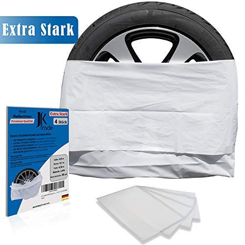JK Trade® EXTRA Starkes 4-teiliges Premium Reifentaschen Set zur Reifen Aufbewahrung & Lagerung Ihrer Autoreifen, Reifensack Set, Felgen Tasche, passend für 16, 17, 18, 19, 20, 21, 22 Zoll (Weiß)