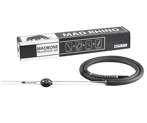 Mad Rhino MADBONE Mundstück Set inkl. Soft-Touch Silikonschlauch Carbon Black | Shisha Schlauchset Komplett
