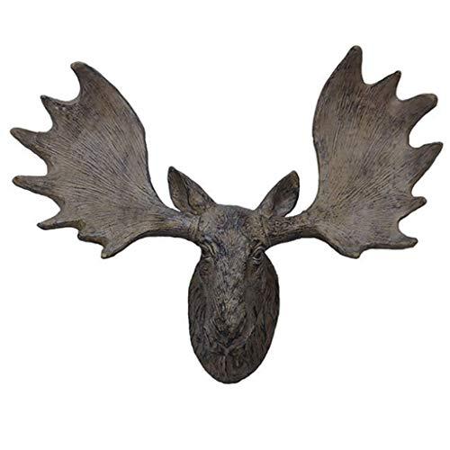 IUYJVR Escultura de Arte Adorno Estatuilla Decoración del hogar Escultura Cabeza de Alce Decoración de Pared Cabeza de Ciervo Porche Sala de Estar Simulación de Fondo 15.7 * 35.5 * 41.5cm Estatuas